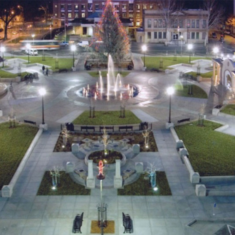 Chico City Plaza at Christmas time